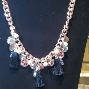 💝 Guess rose gold curb necklace w/ multi dangles